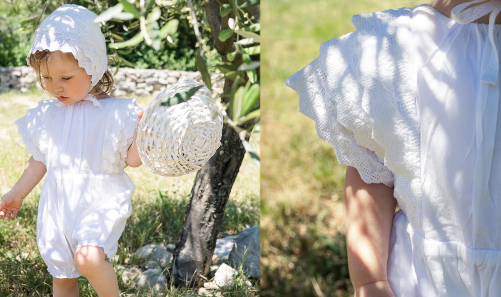 baptême barboteuse-costume-tenue par Eva Rose Bébé garçons bleu//blanc