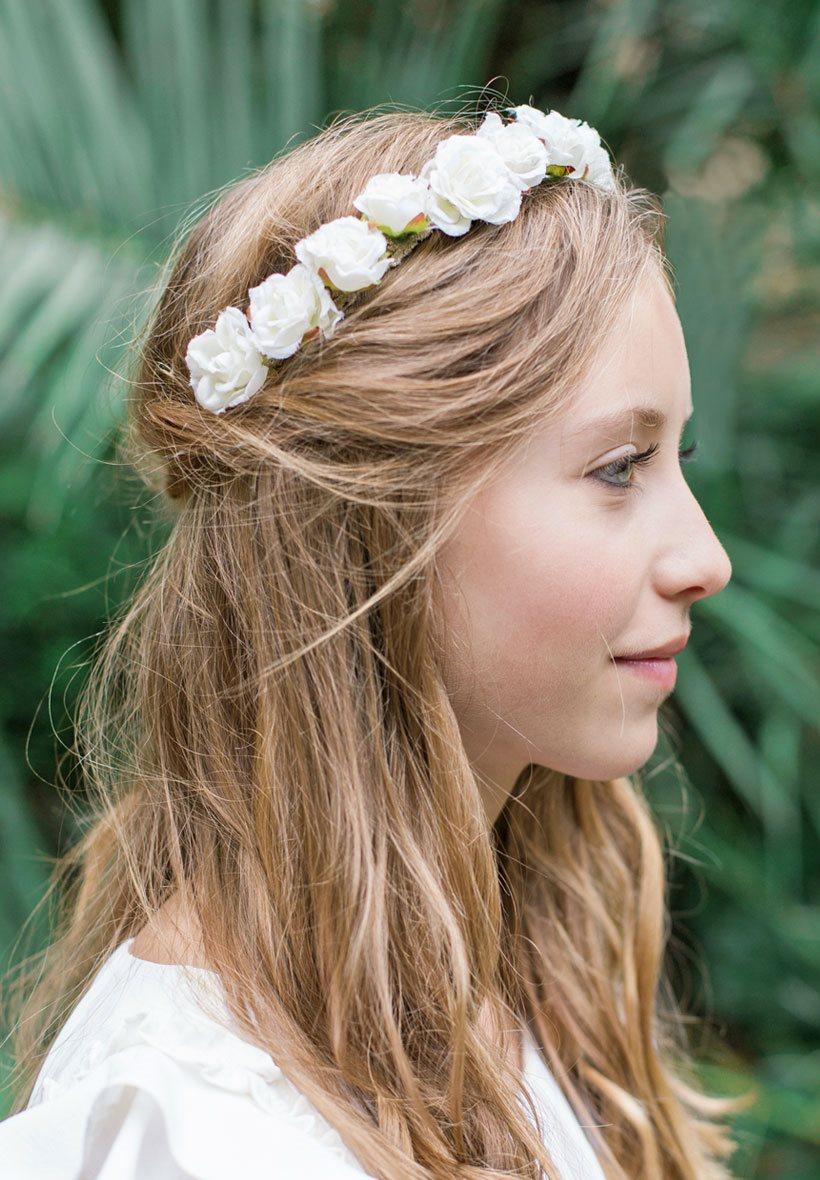 headband enfant de fleurs roses pour mariage. Black Bedroom Furniture Sets. Home Design Ideas